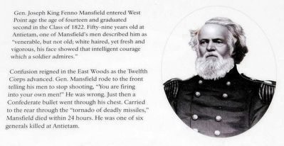 The East Woods Marker<br>Gen. Joseph King Fenno Mansfield image. Click for full size.