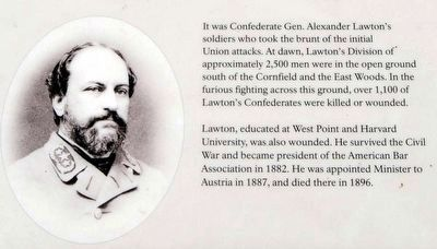 The East Woods Marker<br>Gen. Alexander Lawton image. Click for full size.