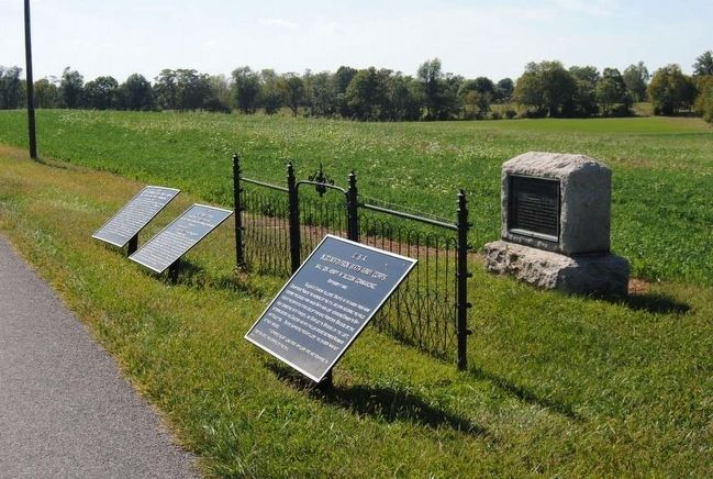 First New Jersey Brigade Monument<br>Stone Monument on the Right image. Click for full size.