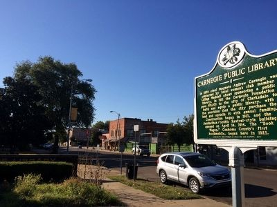 View of marker looking south on Delta Avenue. image. Click for full size.