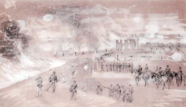 Alfred Waud Sketch of the Burning of Mumma Farm<br>Published in <i>Harpers Weekly</i> image. Click for full size.