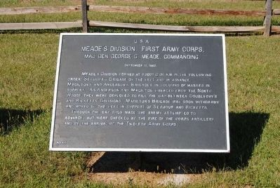 Meade's Division, First Army Corps Marker image. Click for full size.