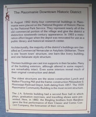 The Mazomanie Downtown Historic District Marker image. Click for full size.