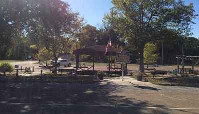 View of marker in town park. image. Click for full size.