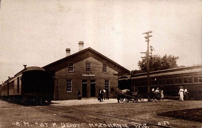 "<i>""C.M. and St. P. Depot"", Mazomanie, Wis.</i> image. Click for full size."