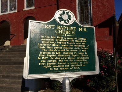 First Baptist M.B. Church Marker image. Click for full size.