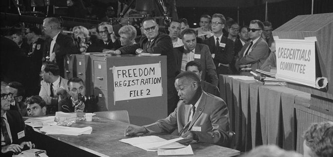 Aaron Henry (seated at center) at the 1964 Democratic National Convention image. Click for full size.