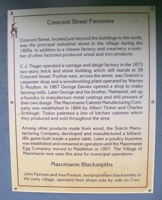 Crescent Street Factories, Mazomanie Blacksmiths, Coal Buildings Marker image. Click for full size.