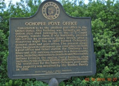 Ochopee Post Office Marker image. Click for full size.
