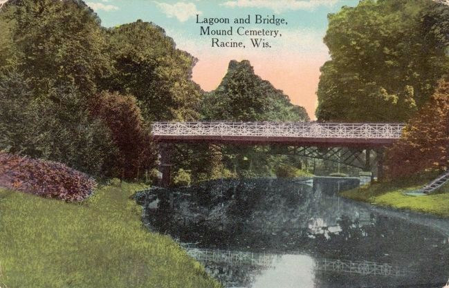 <i>Lagoon and Bridge, Mound Cemetery, Racine, Wis.</i> image. Click for full size.