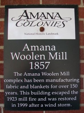 Amana Woolen Mill Marker image. Click for full size.