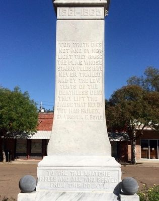 Tallahatchie County Confederate Monument Marker (Rear) image. Click for full size.