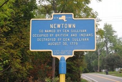 Newtown Marker<br>Current Location Near Entrance to Newtown Battlefield State Park image. Click for full size.