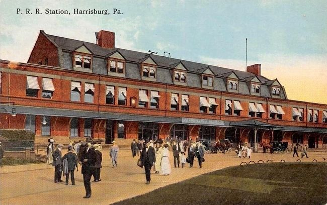 <i>P.R.R. Station, Harrisburg, Pa.</i> image. Click for full size.