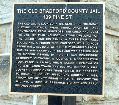 The Old Bradford County Jail Marker image. Click for full size.