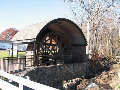 The Eli Terry Jr. Water Wheel next to the Pequabuck River image. Click for full size.
