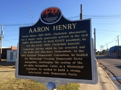 Aaron Henry Freedom Trail Marker next to plaque. image. Click for full size.