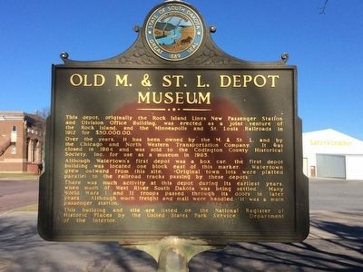 Old M. & ST. L. Depot Museum Marker image. Click for full size.