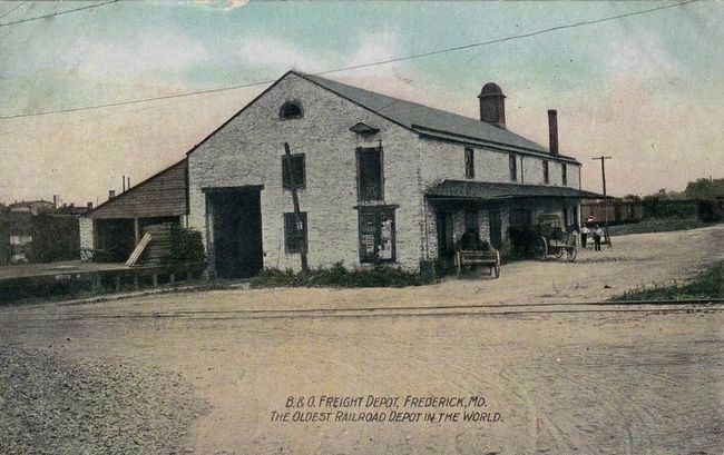 <i>B&O Freight Depot, Frederick, Maryland - The Oldest Railroad Depot in the World</i> image. Click for full size.