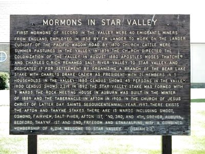 Mormons in Star Valley Marker image. Click for full size.