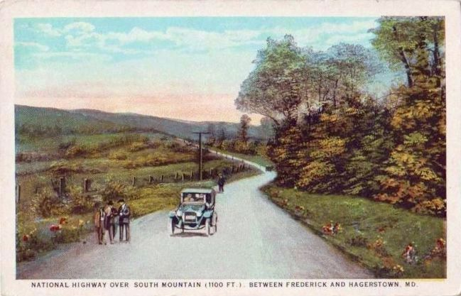 <i>National Highway Over South Mountain (1100 ft.) Between Frederick and Hagerstown, Md.</i> image. Click for full size.