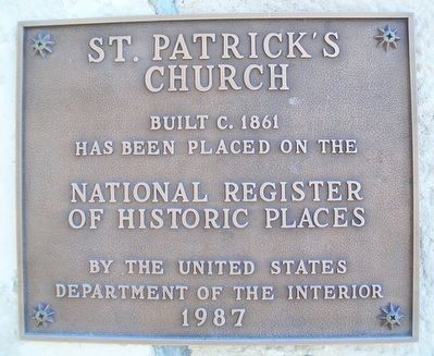 St. Patrick's Mission Church NRHP Marker image. Click for full size.