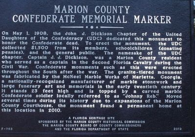 Marion County Confederate Memorial Marker image. Click for full size.