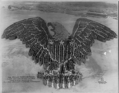 <i>The Human American eagle; 12,500 officers, nurses and men; Camp Gordon, Atlanta, Ga....</i> Photo, Click for full size