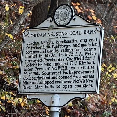 Jordan Nelson�s Coal Bank Marker image. Click for full size.