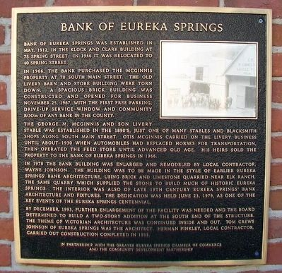 Bank of Eureka Springs Marker image. Click for full size.