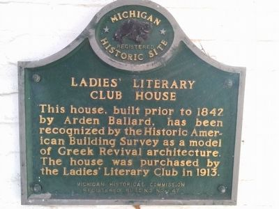 Ladies' Literary Club House Marker image. Click for full size.