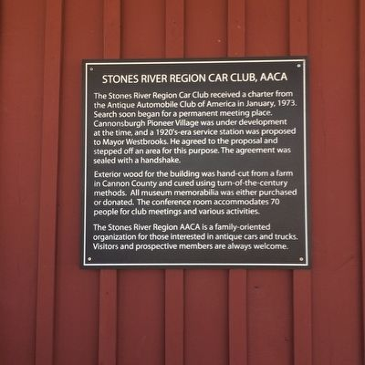 Stones River Region Car Club, AACA Marker image. Click for full size.