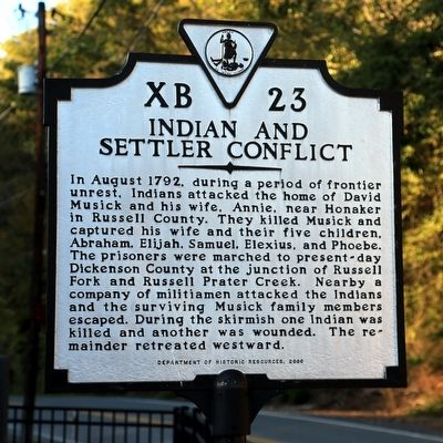 Indian and Settler Conflict Marker image. Click for full size.