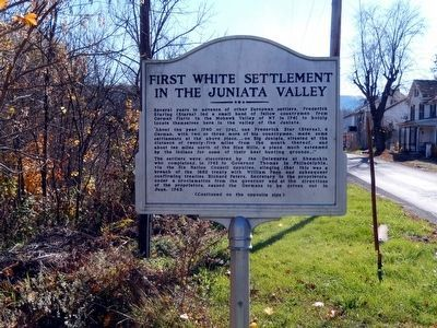 First White Settlement in the Juniata Valley Marker-Side 1 image. Click for full size.