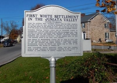 First White Settlement in the Juniata Valley Marker-Side 2 image. Click for full size.
