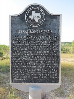 Old Bear Creek Texas Ranger Camp Marker image. Click for full size.