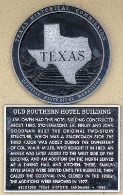 Old Southern Hotel Building Texas Historical Marker image. Click for full size.