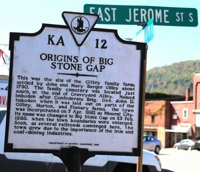 Origins of Big Stone Gap Marker image. Click for full size.