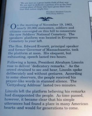 The Gettysburg Address Marker<br>Main Text Photo, Click for full size