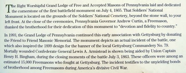 Continuing a Tradition: Freemasonry at Gettysburg Marker<br>Main Text 1 image. Click for full size.