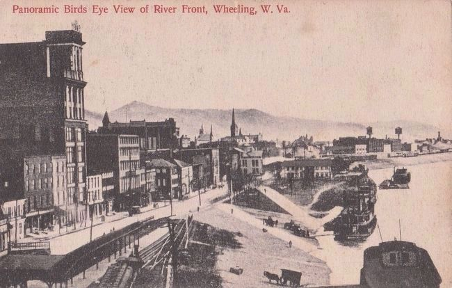 <i>Panoramic Birds Eye View of River Front, Wheeling, W. Va.</i> image. Click for full size.