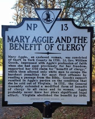 Mary Aggie And The Benefit Of Clergy Marker image. Click for full size.
