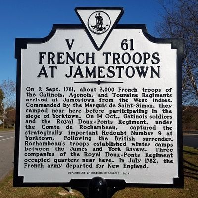 French Troops At Jamestown Marker image. Click for full size.