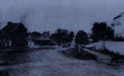 The Wagon Hotel on Cemetery Hill Marker<br>Looking northward on Baltimore Street (ca. 1865) image. Click for full size.