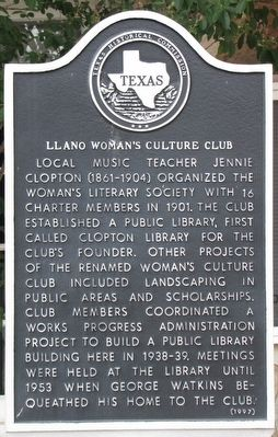 Llano Woman's Culture Club Texas Historical Marker image. Click for full size.