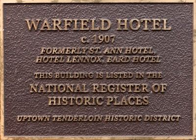 Warfield Hotel Marker image. Click for full size.