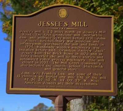 Jessee�s Mill Marker image. Click for full size.