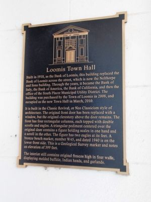 Loomis Town Hall Marker image. Click for full size.