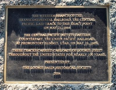 Loomis - Transcontinental Railroad Marker image. Click for full size.