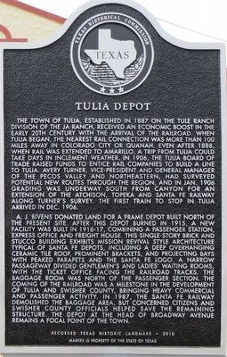 Tulia Depot Marker image. Click for full size.